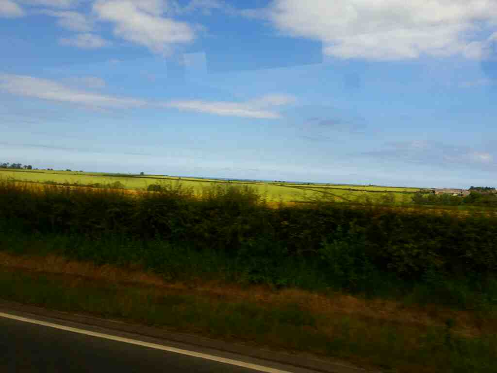 The sea as seen from the A1 just north of Earsdon on a X15 Newcastle to Berwick bus