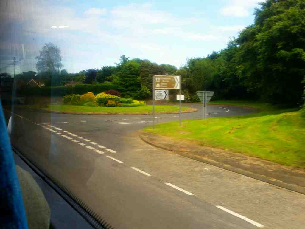 Road to Warkworth Castle from Felton on a X15 Newcastle to Berwick bus