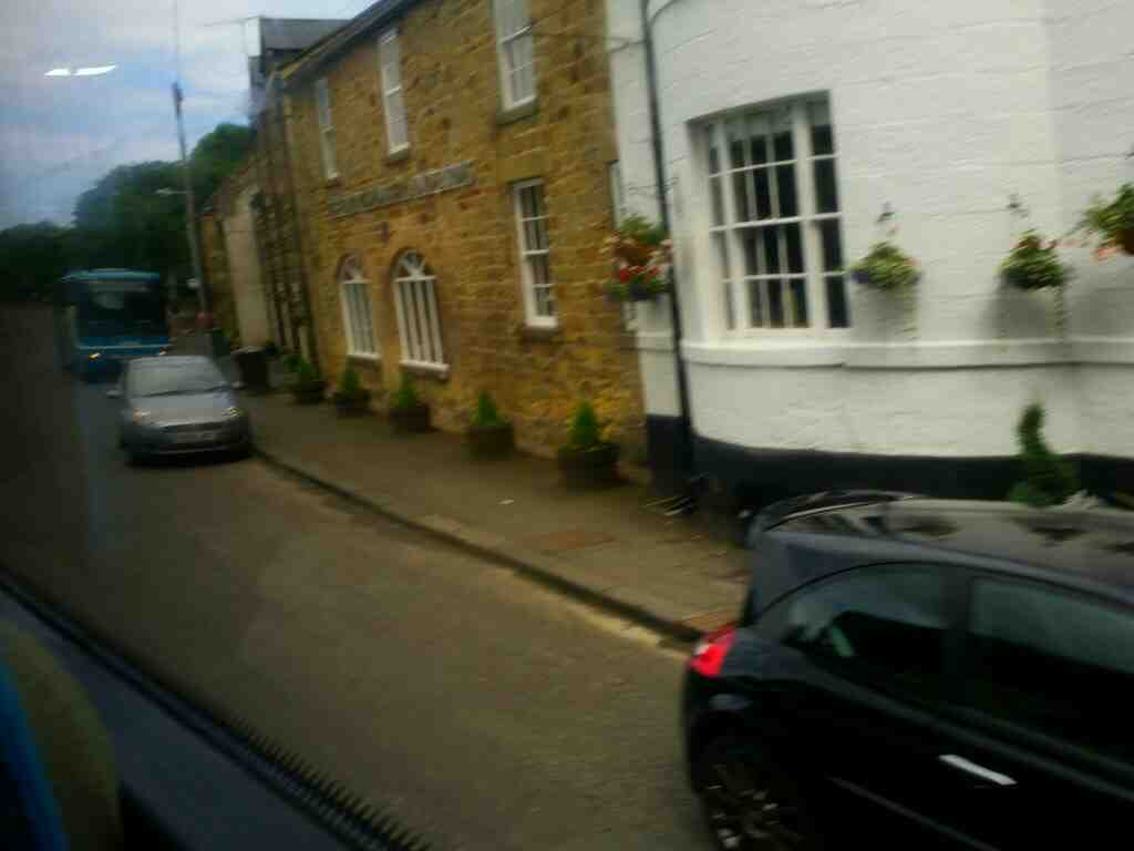 Passes the Northumberland Arms the Peth Felton on a X15 Newcastle to Berwick bus