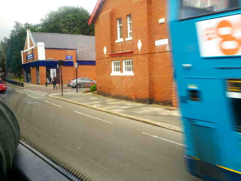 junction of High St and Roseworth Avenue Gosforth Newcastle on a X15 Newcastle to Berwick bus