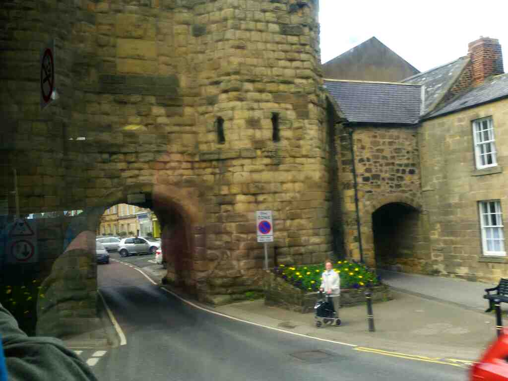 Bondgate Tower junction of Bondgate Without and Hotspur Street Alnwick on a X15 Newcastle to Berwick bus