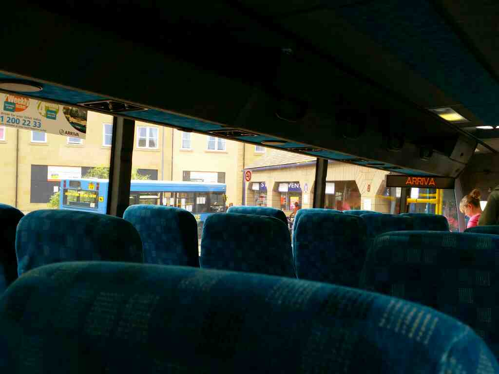 Awaiting departure from Alnwick on a X15 Newcastle to Berwick bus