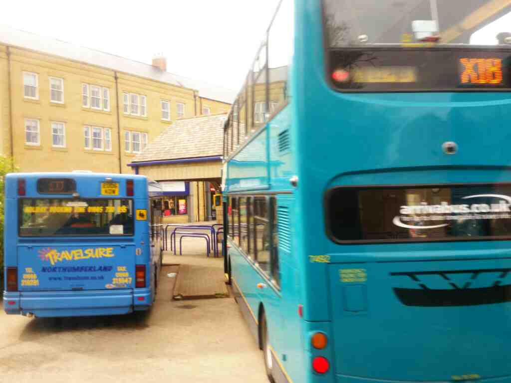 Pulling away from our stand in Alnwick bus station on a X15 Newcastle to Berwick bus