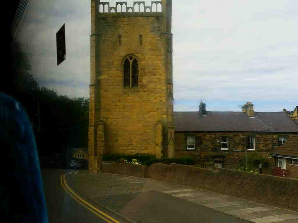 Dispensary St Alnwick on a X15 Newcastle to Berwick bus. We are about to pass the Pottergate Tower