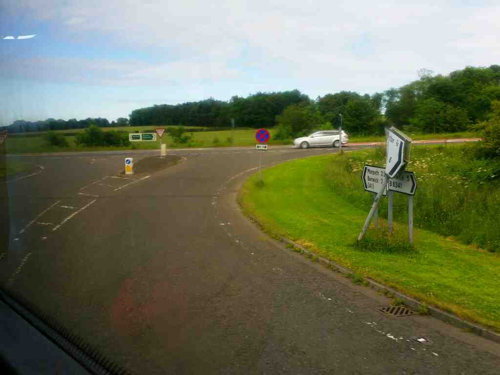Junction of the B6341 and A1 north of Alnwick on a X15 Newcastle to Berwick bus