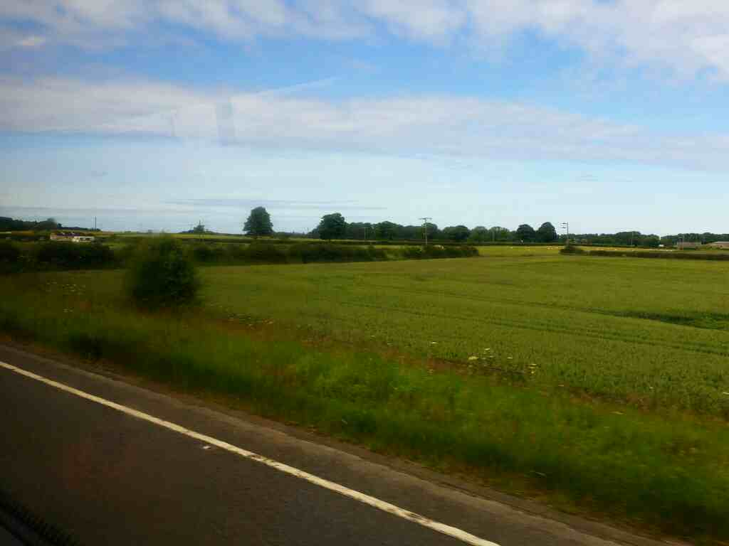 Heading North on the A1 north of Alnwick on a X15 Newcastle to Berwick bus