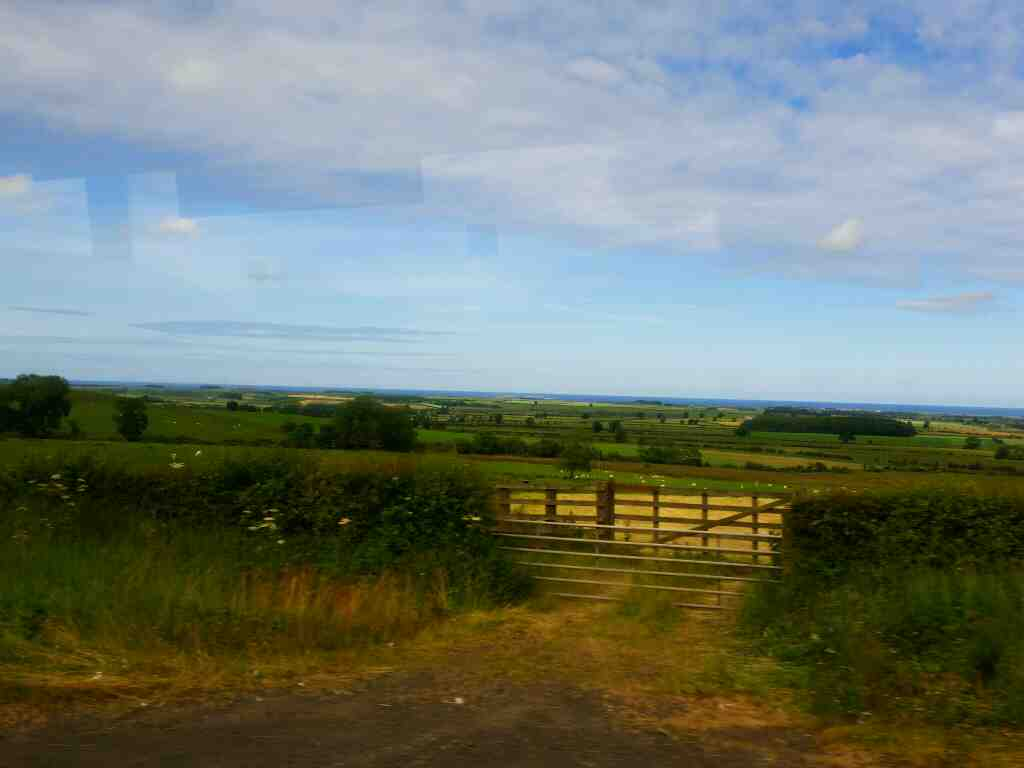 The North Sea from the A1 on a X15 Newcastle to Berwick bus
