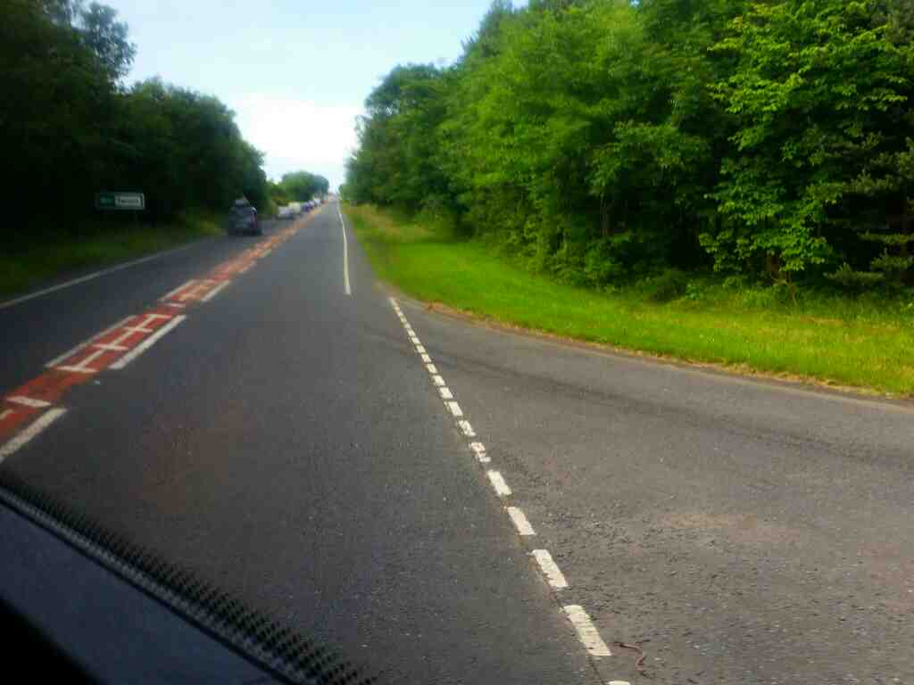 The A1 north of Warenford on a X15 Newcastle to Berwick bus