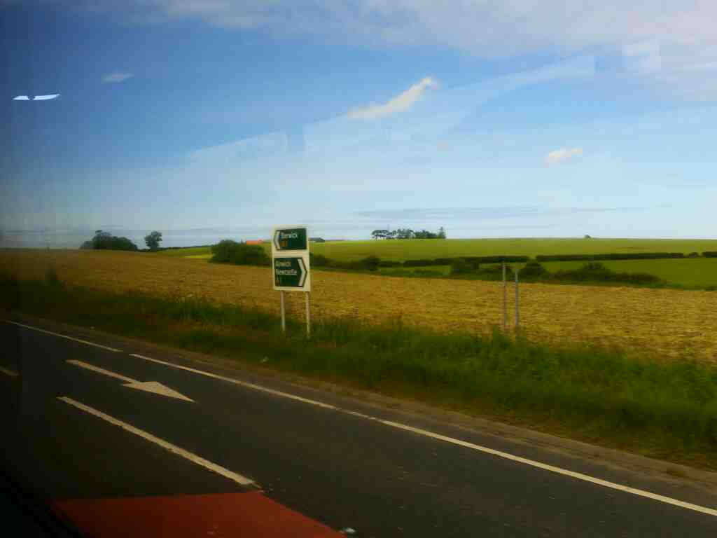 The A1 passing the Adderstone Holiday Park on a X15 Newcastle to Berwick bus