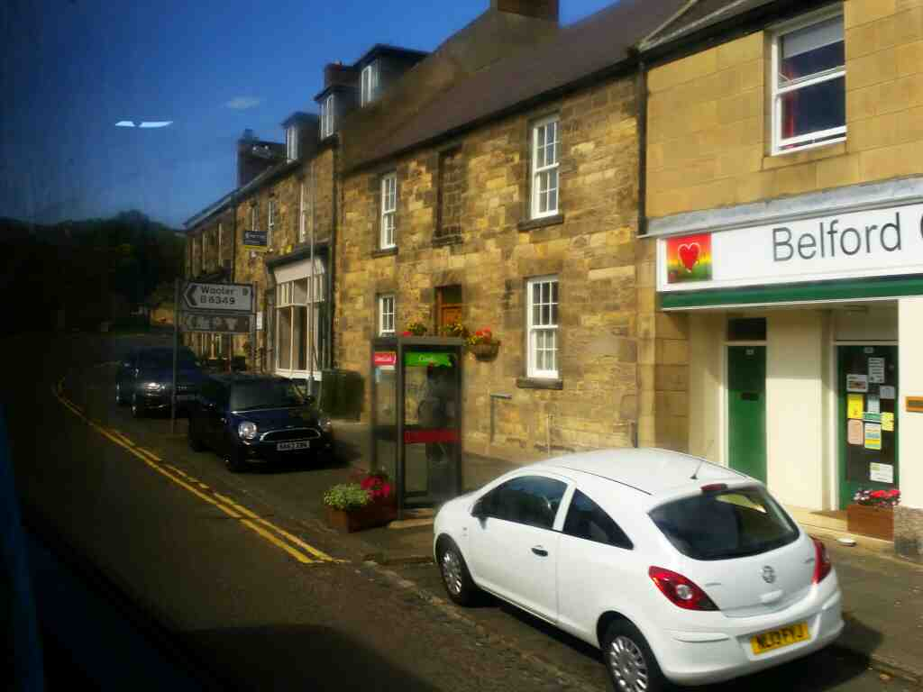 High St Belford Northumberland on a X15 Newcastle to Berwick bus