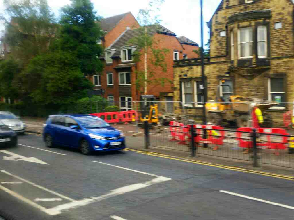 Heading north on High St through Gosforth Newcastle on a X15 Newcastle to Berwick bus