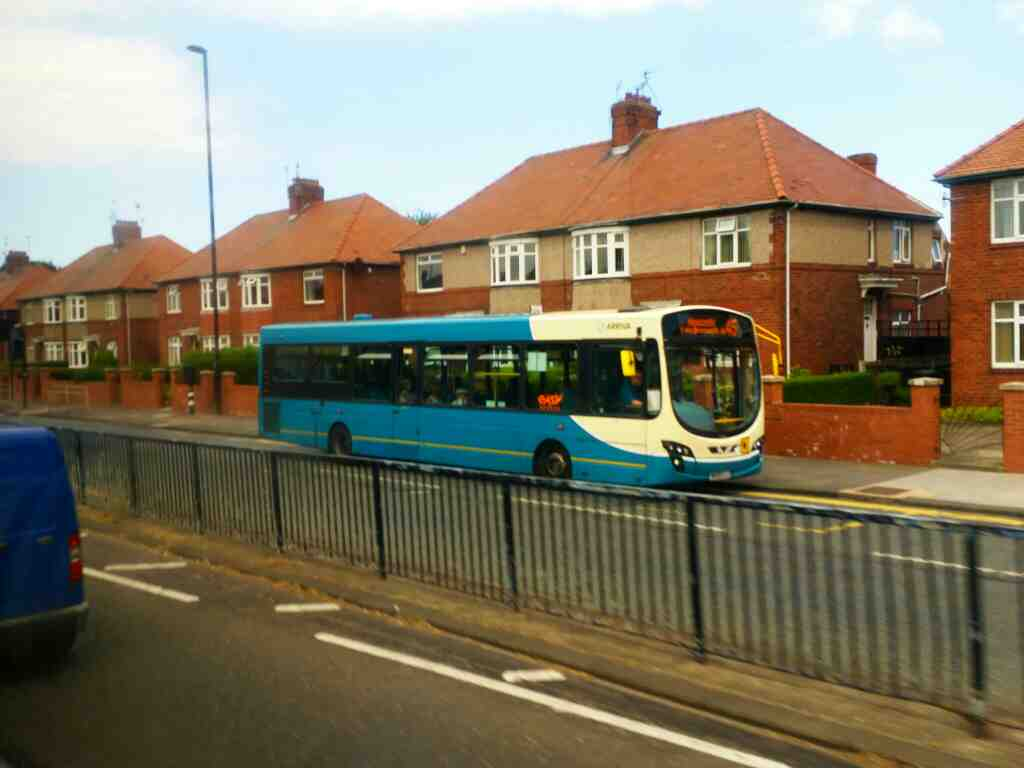 Arriva 45 bus from Dinnington to Newcastle seen on Great North Road Gosforth on a X15 Newcastle to Berwick bus