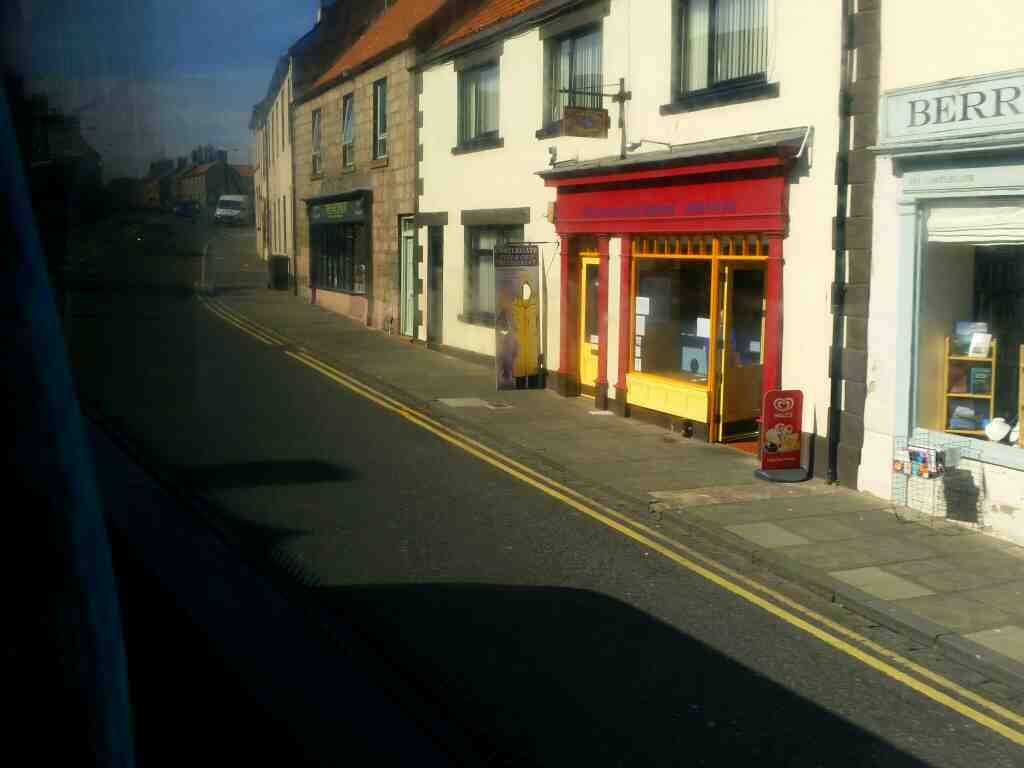 Traveling along Castlegate Berwick on a X15 Newcastle to Berwick bus Passing Castlegate Chippy