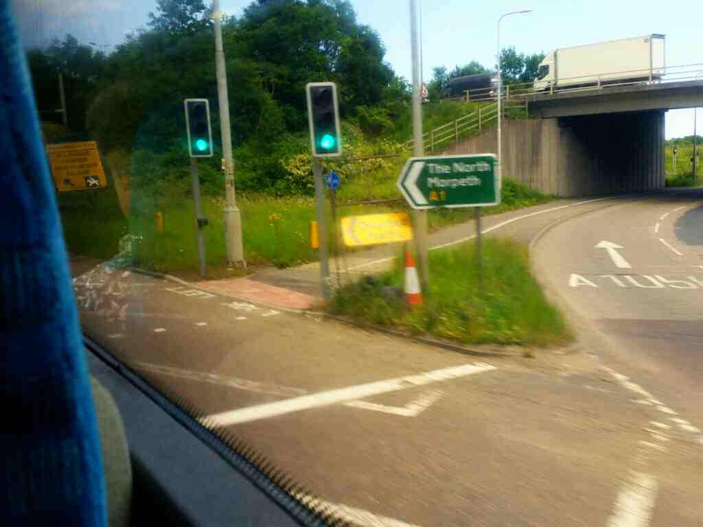 Heading onto the Sliproad of the northbound A1 at Hazelerigg on a X15 Newcastle to Berwick bus