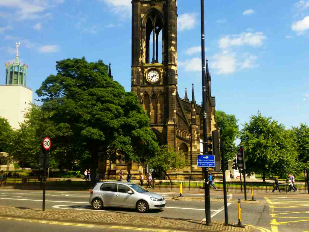The churc of St Thomas the Martyr Barras Bridge Newcastle off a X15 Newcastle to Berwick bus