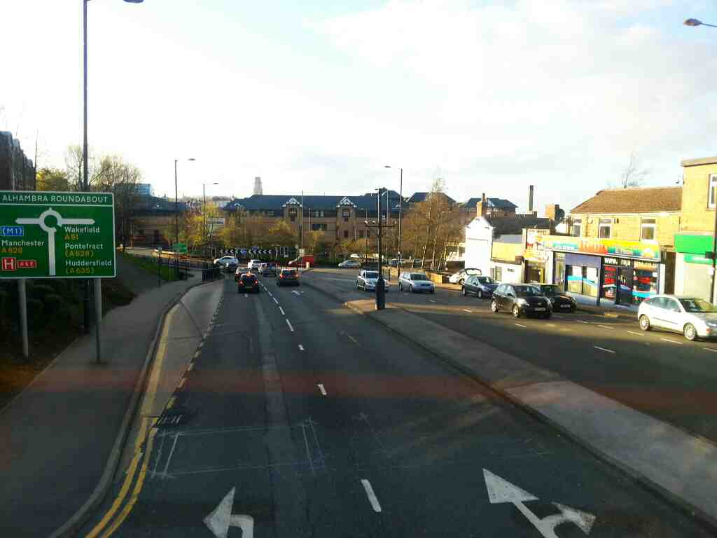 Approaching the Alhanbra Roundabout Barnsley on .Sheffield Rd the A61 on a 265 bus