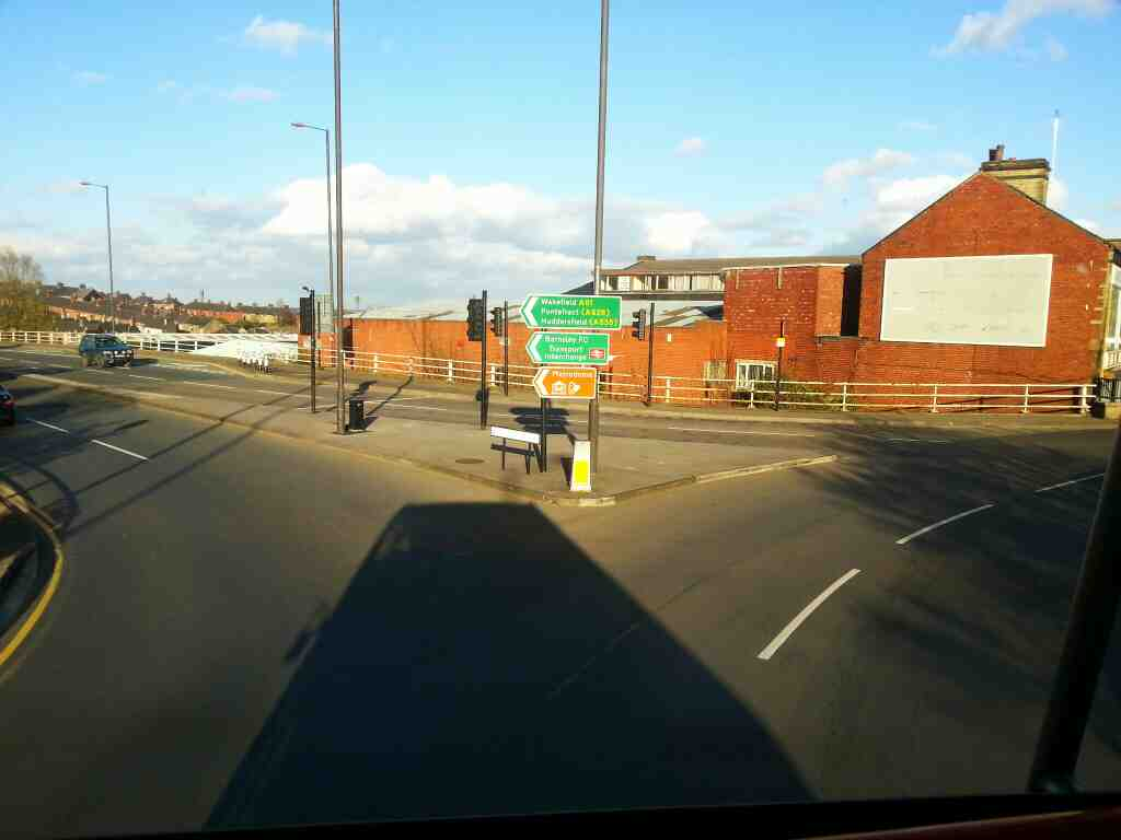 Turning onto Harborough Hill Rd the A61 Barnsley on a 265 bus