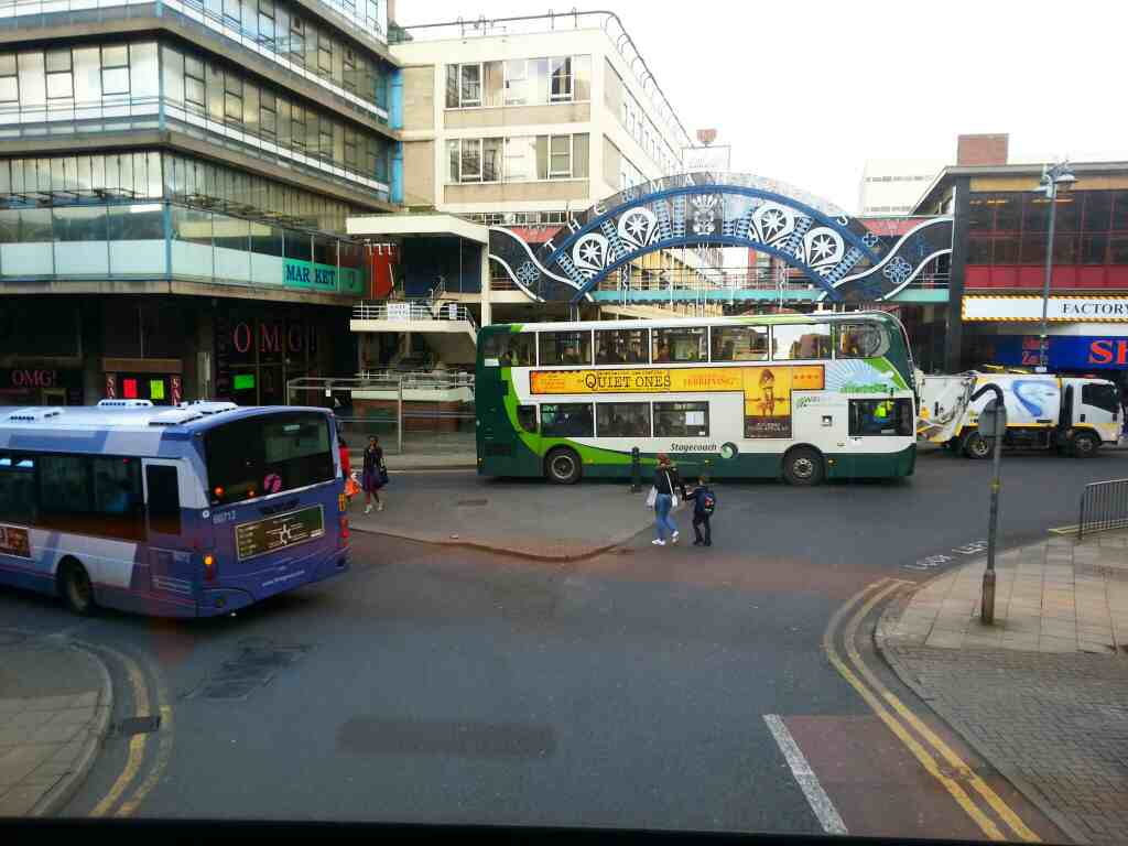 Junction of Waingate and Castle St Sheffield off a 265 bus
