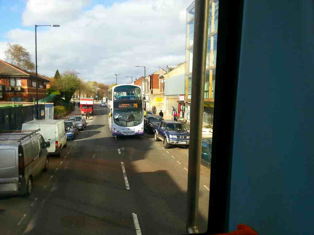 Passing a 75 Batemoor bound bus on Spital Hill Sheffield on a 265 Barnsley bound bus