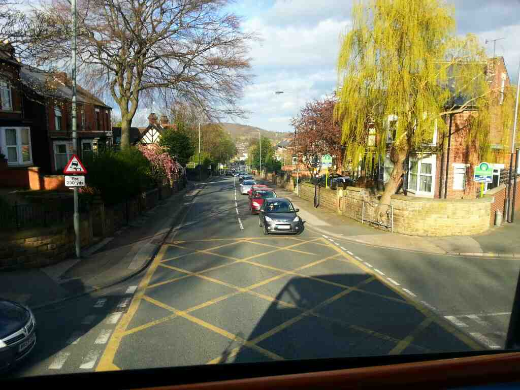 Junction of Scott Rd, Firshill Avenue and Barnsley Rd off a 265 Sheffield to Barnsley Bus