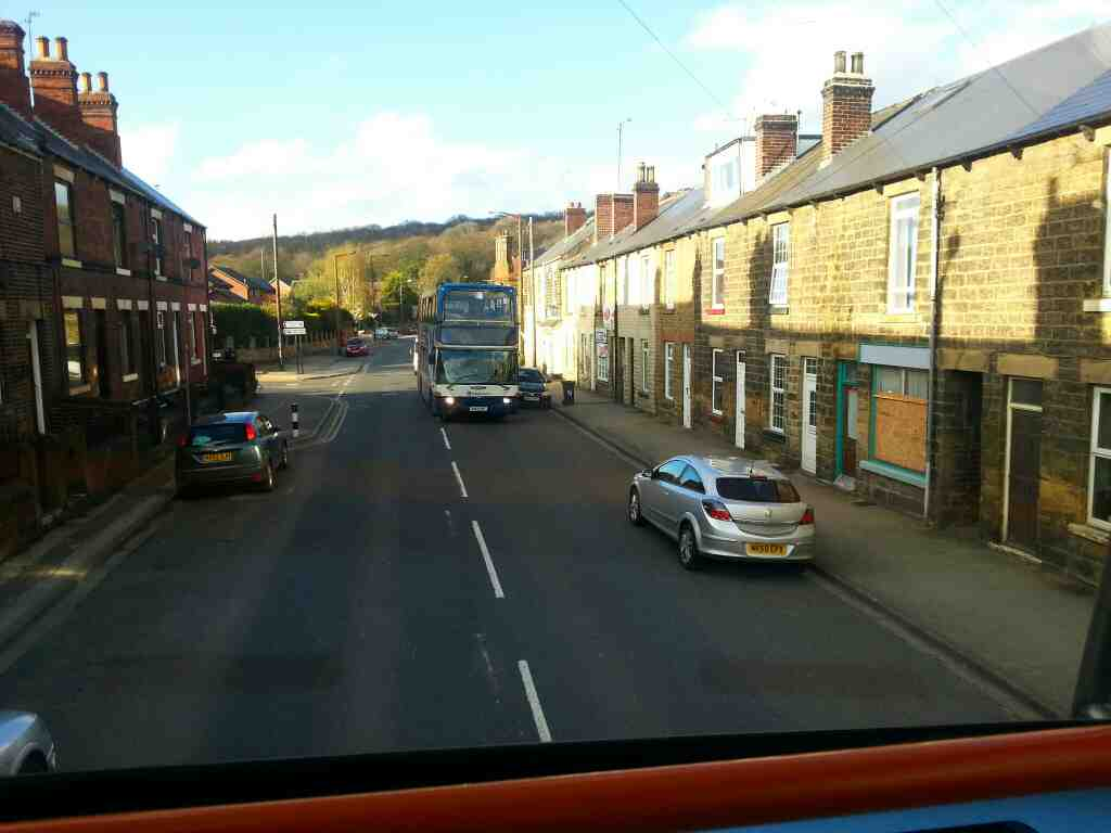 Station Rd Chapeltown a 265 Sheffield bound bus taken from a 265 Barnsley bound bus