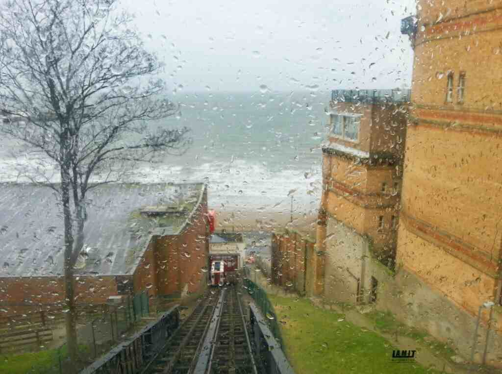 Looking down the tracks of the Scarborough tramway