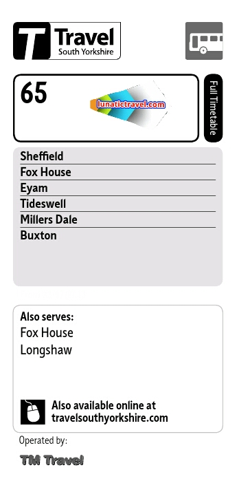 tm travel service 65 Sheffield Whirlow Fox House calver slough Stoney Middleton Eyam Foolow Great Hucklow Tideswell Litton Millers Dale King Sterndale Buxton bus timetable