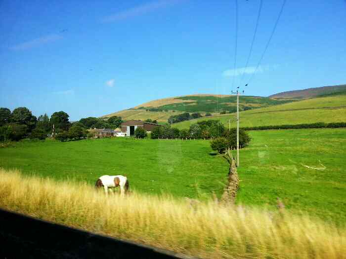 A Remote farm in the Edale Valley seen from a train