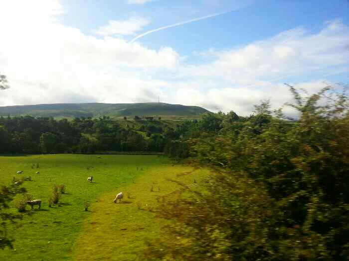 Heading away from Bamford on a train