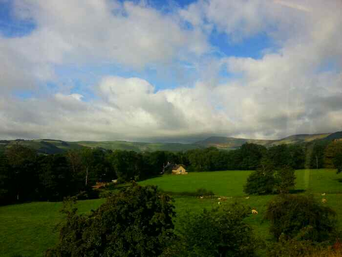 View of Mam Tor from a train
