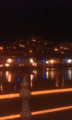 Looking across Torquay Harbour by night