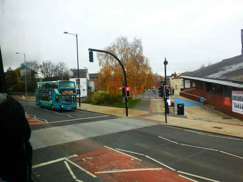 Pulling out of Wakefield bus station onto Marsh Way the A61
