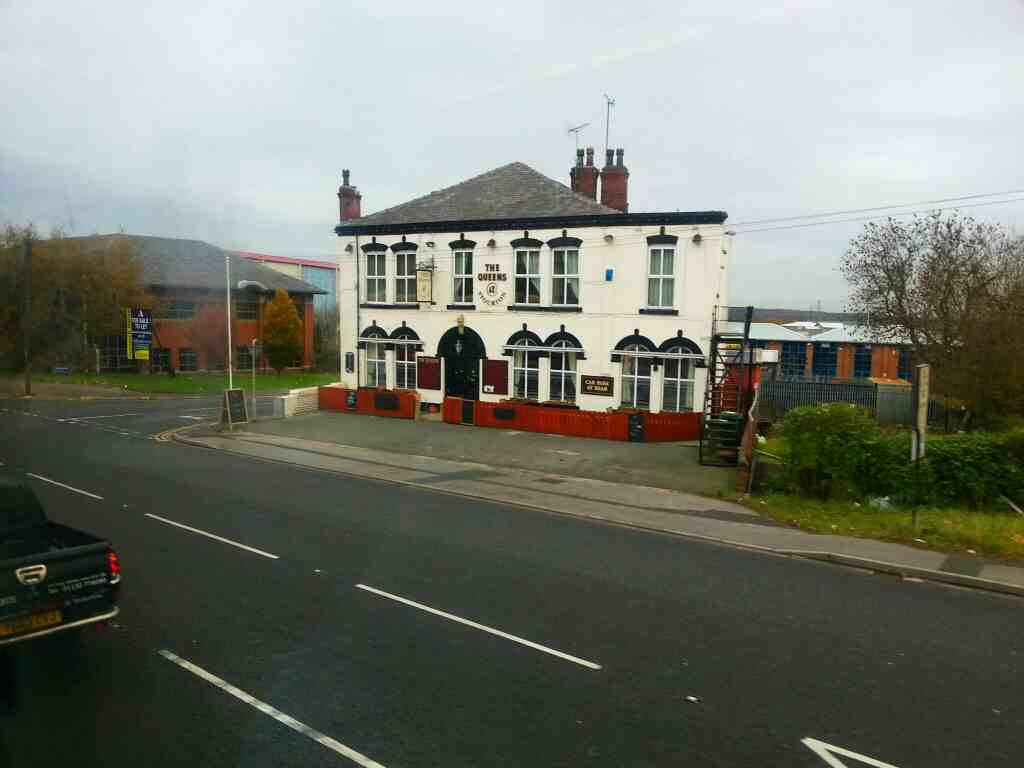 110 bus passing the Queens pub Wakefield Rd the A639