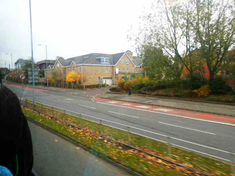 Leeds road the A61 and A650 off a 110 bus heading north out of Wakefield West Yorkshire