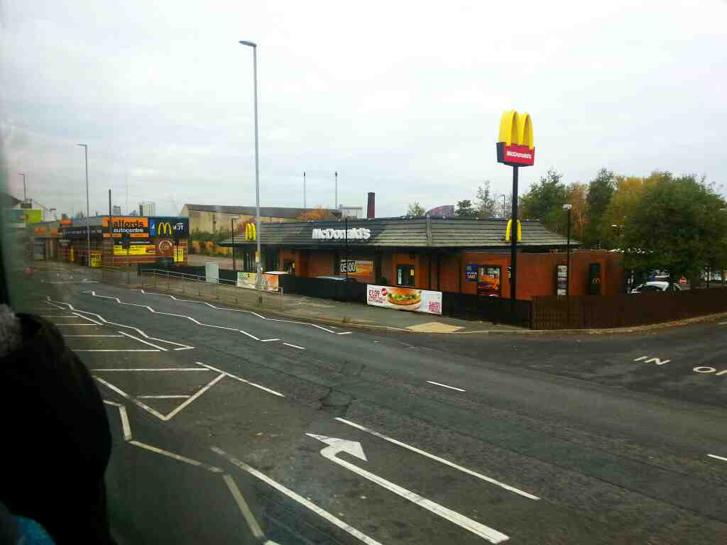 Passes Mc Donalds on Low Rd.the A639 Leeds on 110 bus