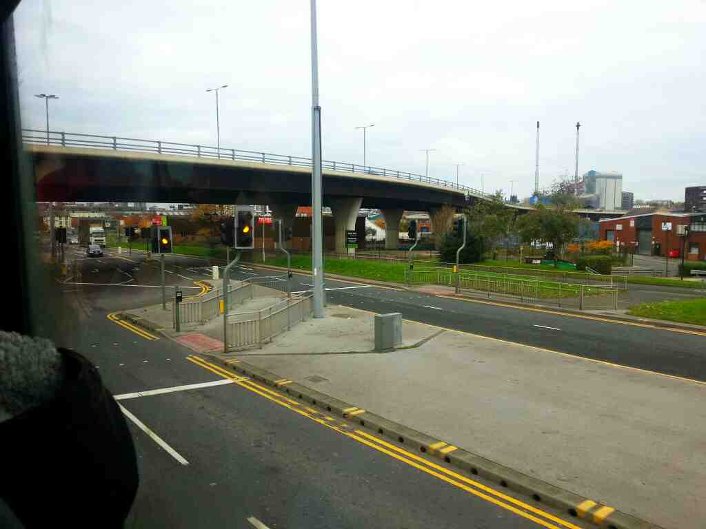 Crossing under the A61 on Hunslet Rd on a 110 bus