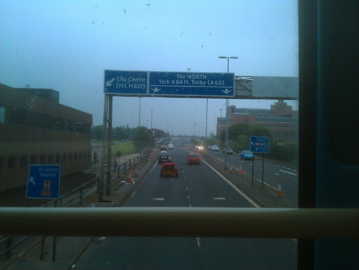 Emerging onto the A64M in the direction of York.