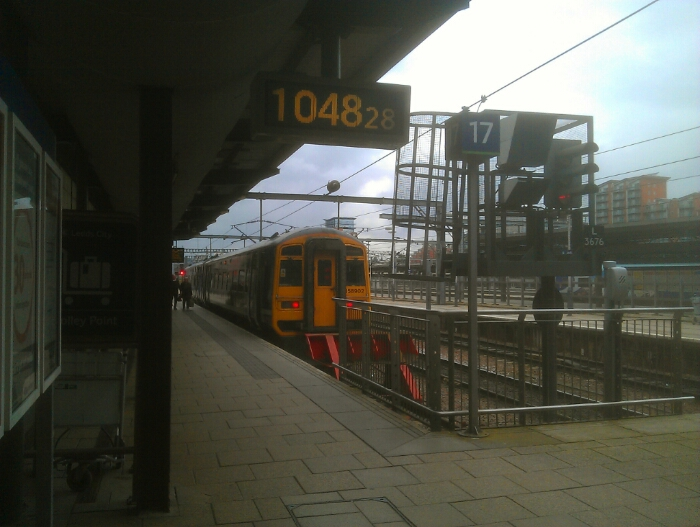 Train at Leeds City Station.