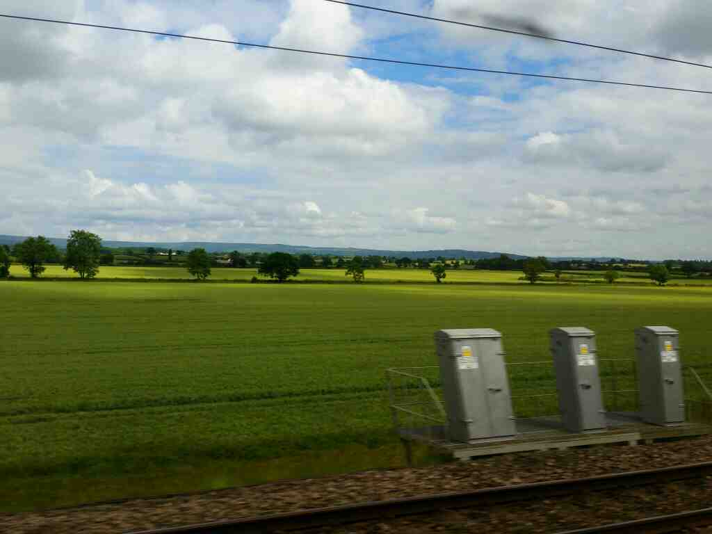 A view of the North York Moors from a train between Thirsk and Northallerton