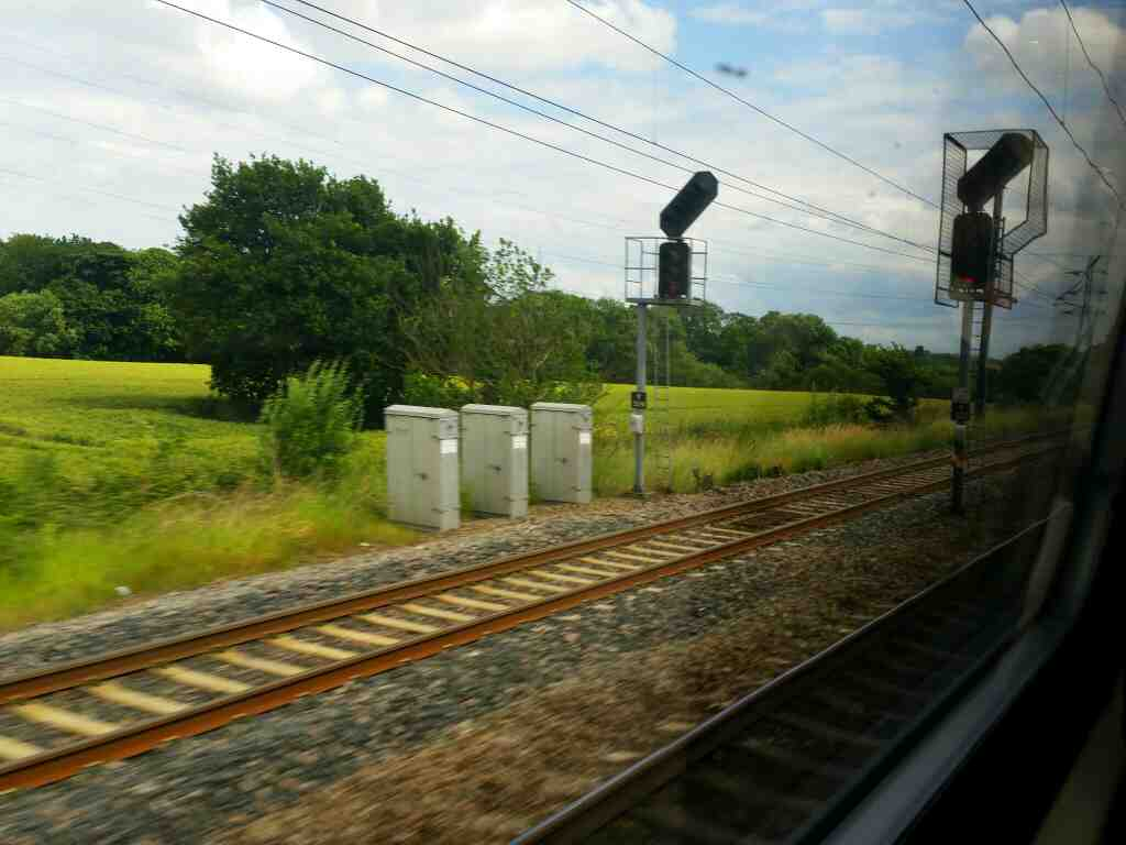 Heading Away from York in a,northerly direction on a train