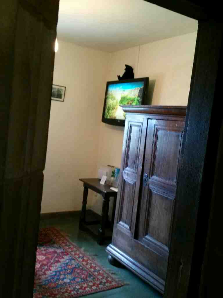 A quick look into a room with a wide sreen tv Lindisfarne Castle Holy Island Northumberland