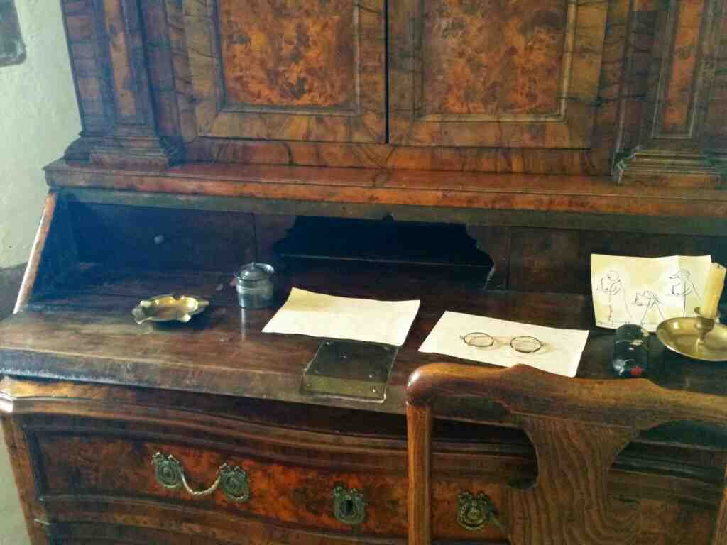 A writing desk Lindisfarne Castle Holy Island Northumberland