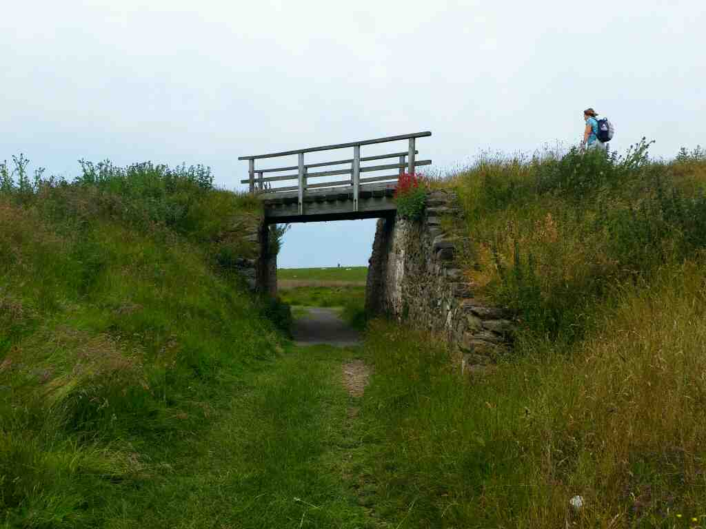 Bridge under the wagonway to the lime kilns Lindisfarne Castle Holy Island Northumberland