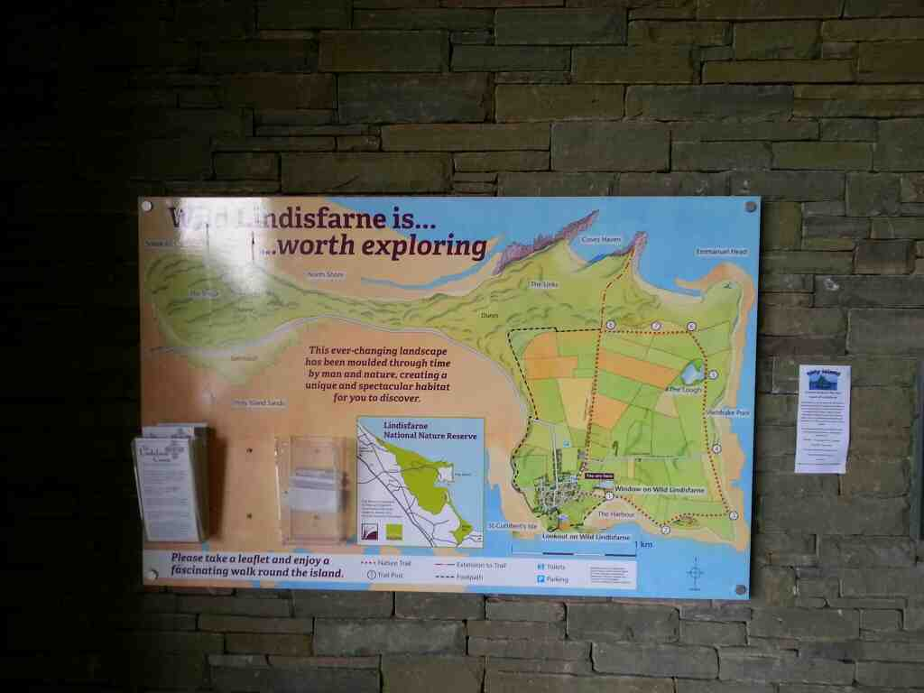 A map at the centre giving some ideas for a walk round Holy Island Lindisfarne Castle Holy Island Northumberland