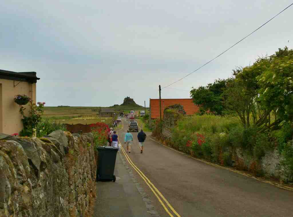 View of Lindisfarne Castle Holy Island Northumberland from the village