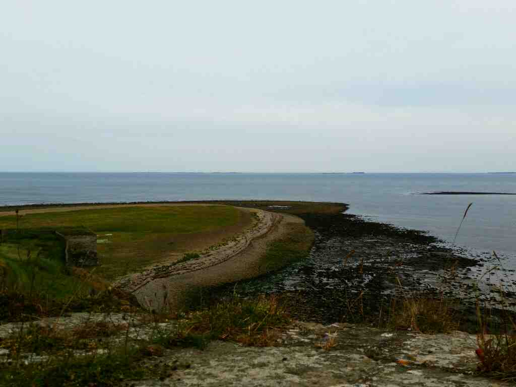 Views of the Farne Islands from the lower Battery Lindisfarne Castle Holy Island Northumberland