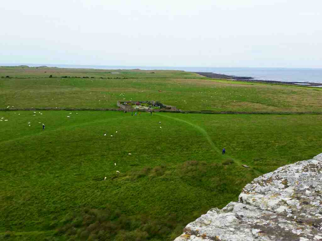 A view to the garden from the upper battery Lindisfarne Castle Holy Island Northumberland