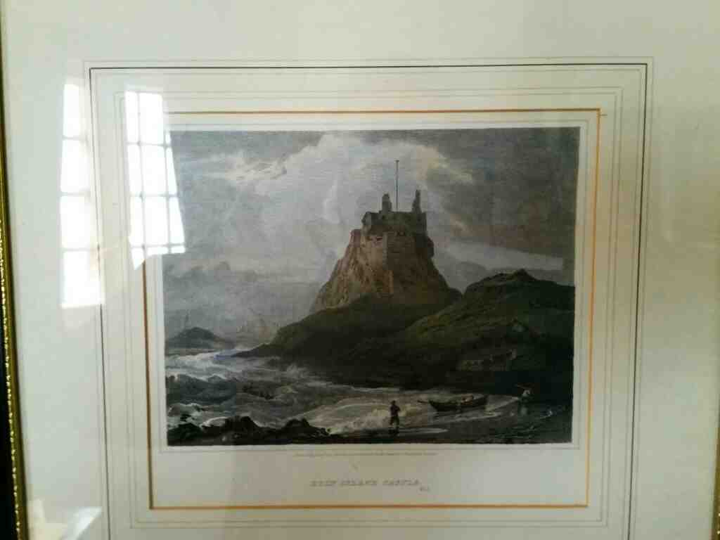 A painting of Lindisfarne Castle in the Upper Gallery Lindisfarne Castle Holy Island Northumberland