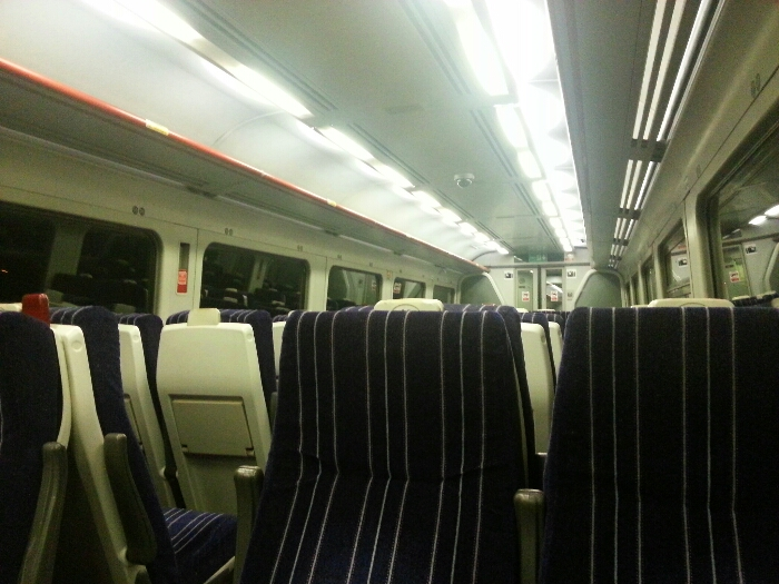 Inside a train between Wakefield Kirkgate and Sheffield