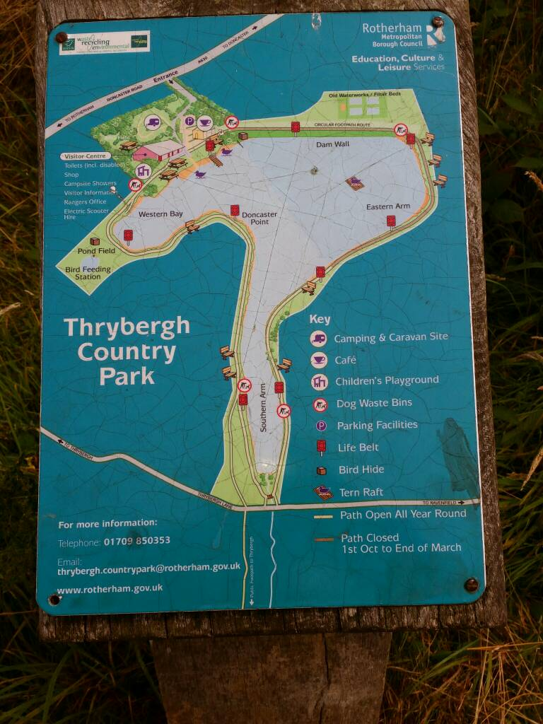Map of the route round the lake Thrybergh Country Park